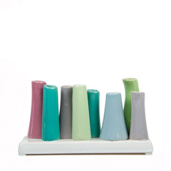 Chive Pooley 2 - Green ceramic 8 tube bud vase