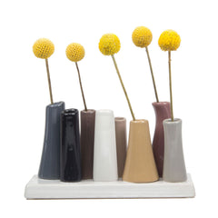 pooley 2 - 8 tube grey ceramic flower vase