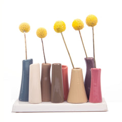 pooley 2 - 8 tube mushroom ceramic flower vase
