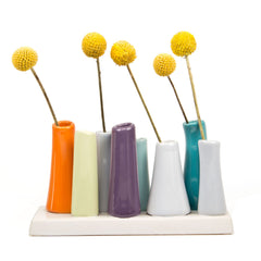pooley 2 - 8 tube orange ceramic flower vase