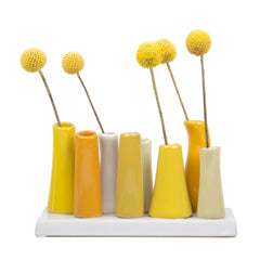 pooley 2 - 8 tube yellow ceramic flower vase