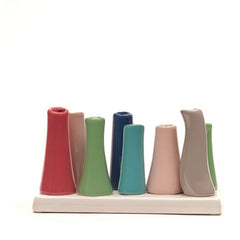pooley 2 - 8 tube honeysuckle ceramic bud vase