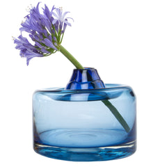 Chive Quasar - Large Blue Hand Blown Glass Flower Vase