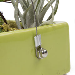 Chive, Ragna Ceramic Hanging Planter - Charteuse side close-up