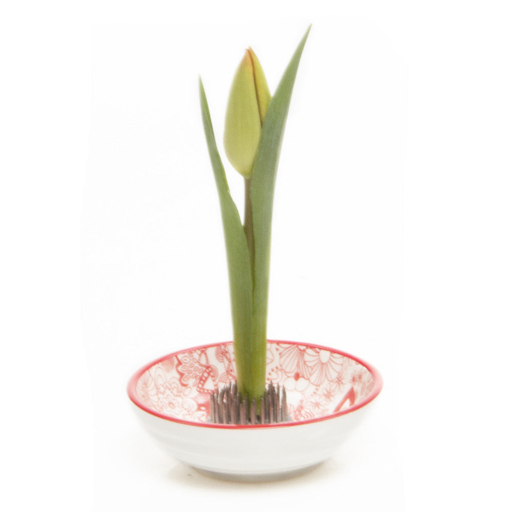 Chive Stas Dish - Classic Red, Floral Frog