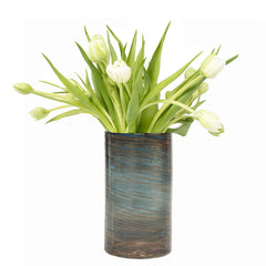 Chive Supreme Nebula - Gold Swirl, Heavy tall hand blown glass flower vase