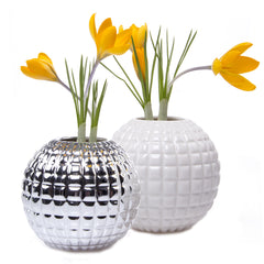 Chive, Tac - Silver and White Porcelain Decorative Short Flower Vase, Group