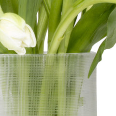 Chive, Tartan - White Large Heavy Long Stem Flower Vase