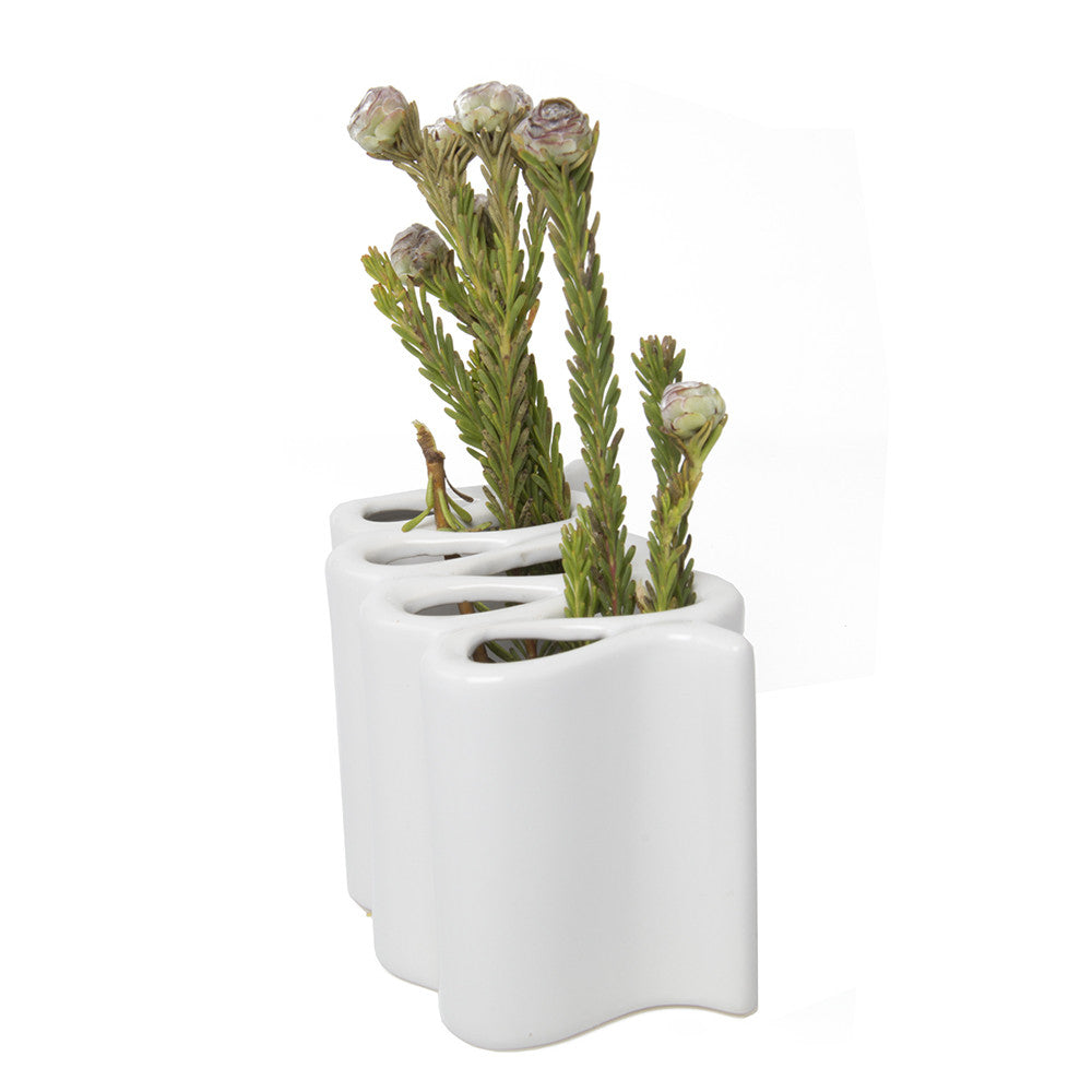 Wave - White, ceramic flower vase