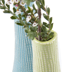 Chive, Bowler Bottle - Chartreuse, Tall textured ceramic vase