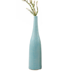 Chive, Bowler Bottle - Teal Tall textured ceramic vase