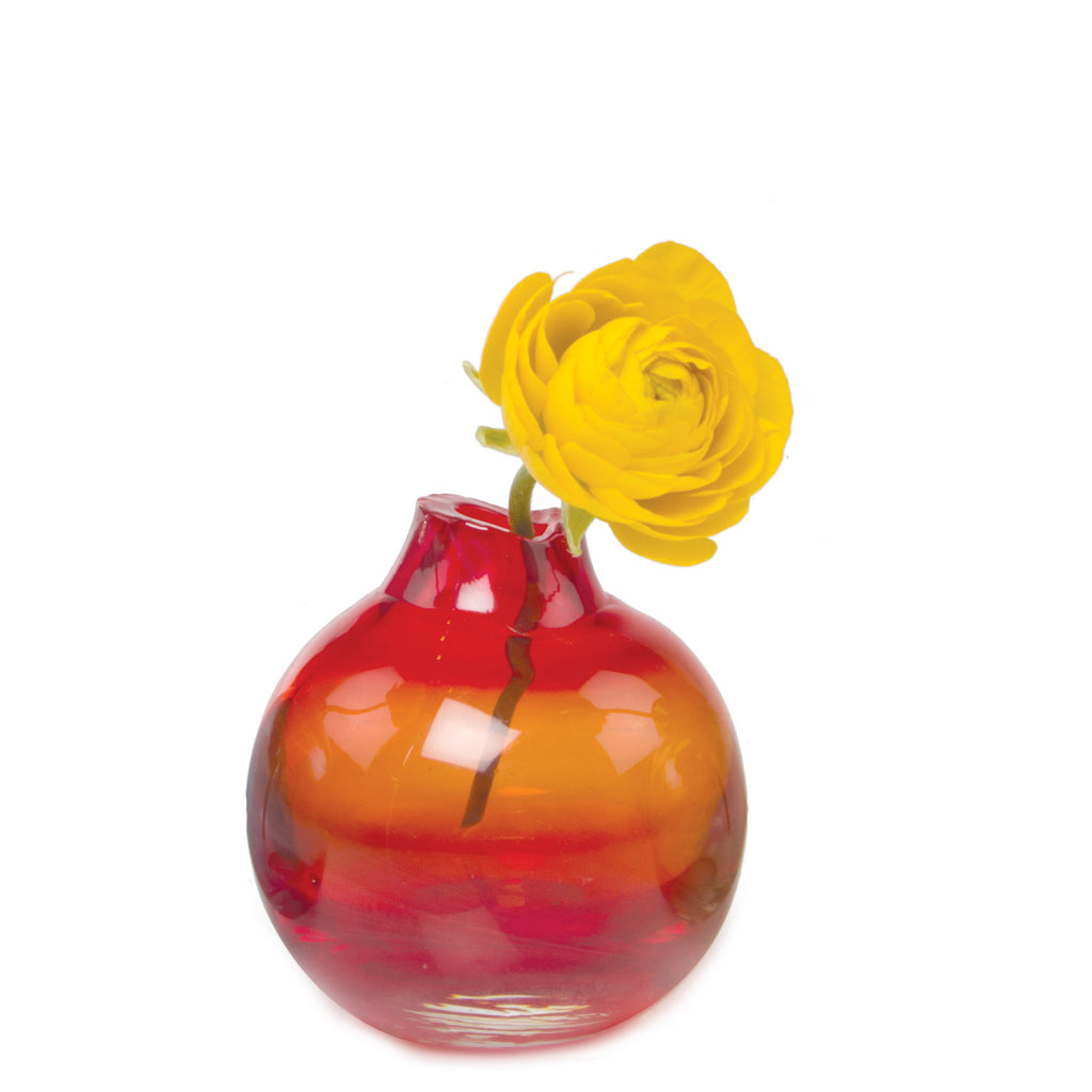 Chive, Corona - Orb Red Orange Heavy Glass Modern Vase
