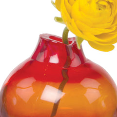 Chive, Corona - Orb Red Orange Heavy Glass Modern Vase, Close up