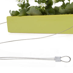 Chive, Ragna Ceramic Hanging Planter - Charteuse close-up on cord