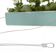 Chive, Ragna - Ceramic Hanging Planter Seafoam close-up on cord