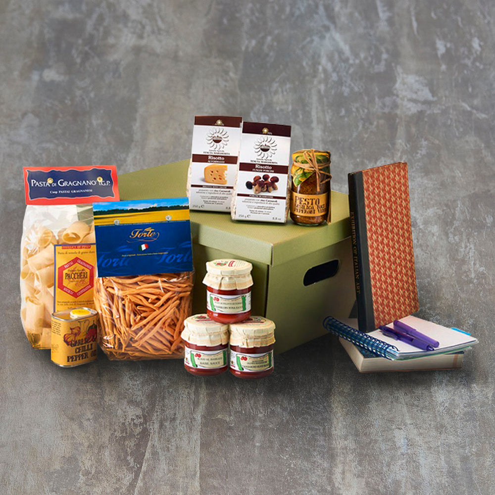 Vorrei Italian food hamper for students with pasta, sauces and risotto mixes