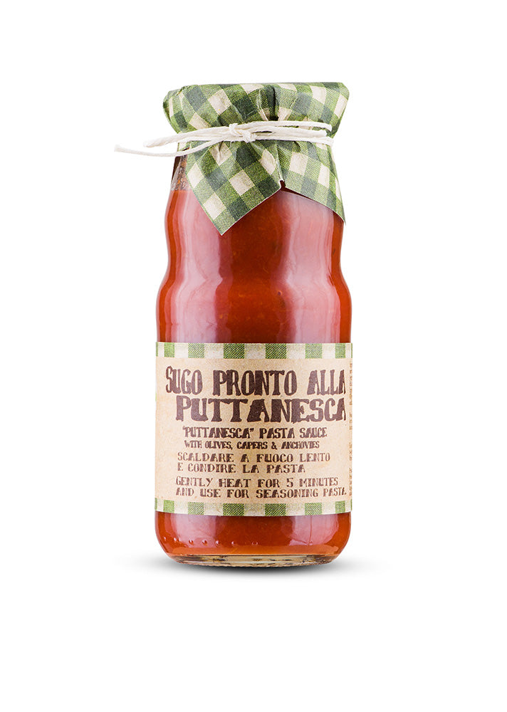 Jar of ready to use puttanesca pasta sauce