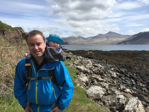 Alex (Founder - Stewpendous) carrying Sam on Scottish West Coast holiday