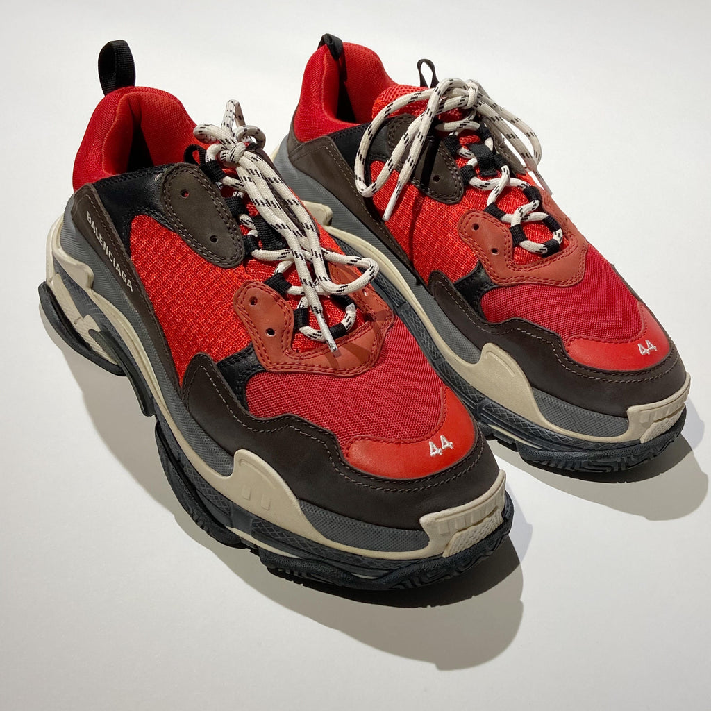 Balenciaga Black/Red Triple S Sneakers