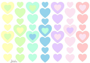 Waterproof lunch box stickers - Pastel hearts