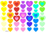 Load image into Gallery viewer, Waterproof lunch box stickers -Rainbow hearts