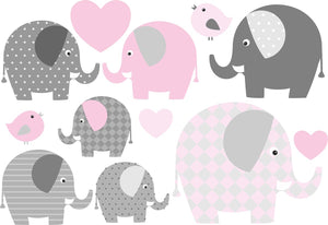 Waterproof lunch box stickers -Pink elephants