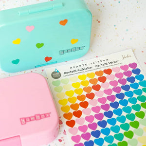 Waterproof lunch box stickers -Rainbow hearts