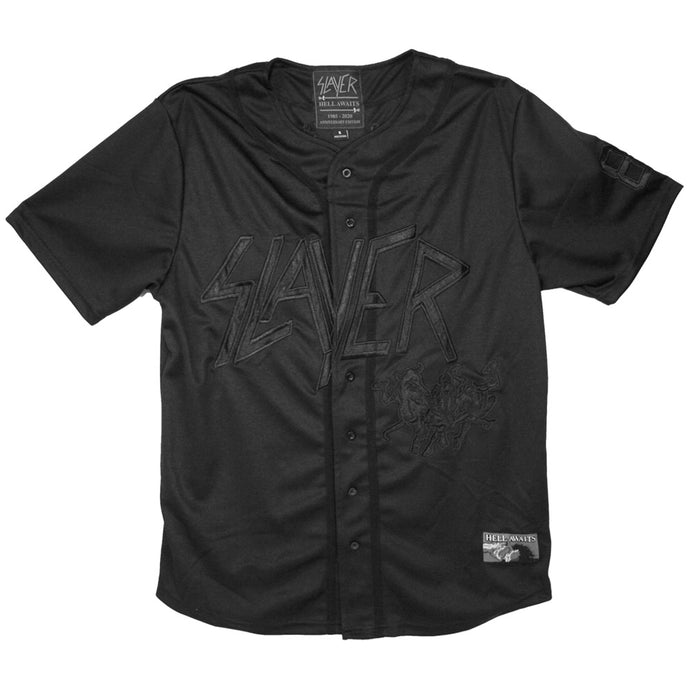 Hell Awaits Black Baseball Jersey