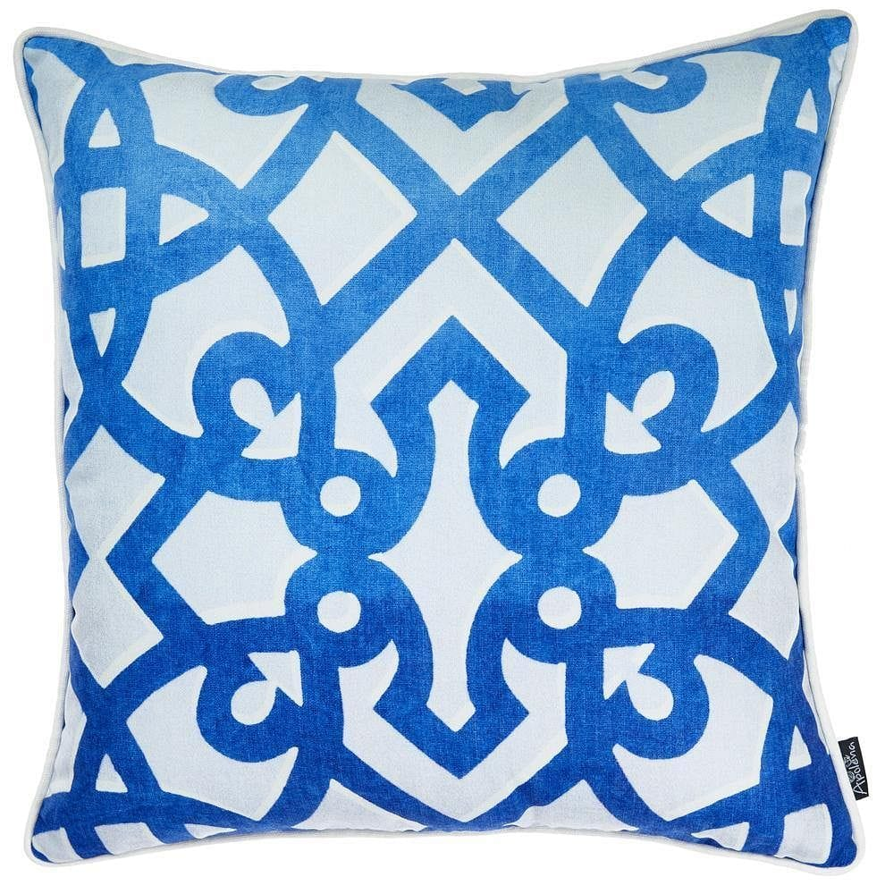 Blue Trellis Decorative Throw Pillow Cover Printed - Homeaholic