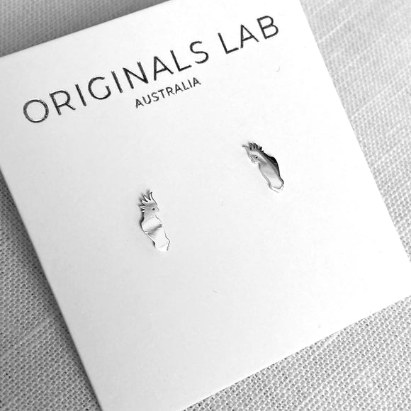Originals Lab Earrings Cockatoo stud from have you met charlie a gift shop with Australian unique handmade gifts in Adelaide South Australia