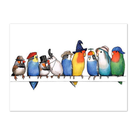 Birds In Hats Print - A Row of Birds in Hats A4 from have you met charlie a gift shop with Australian unique handmade gifts in Adelaide South Australia