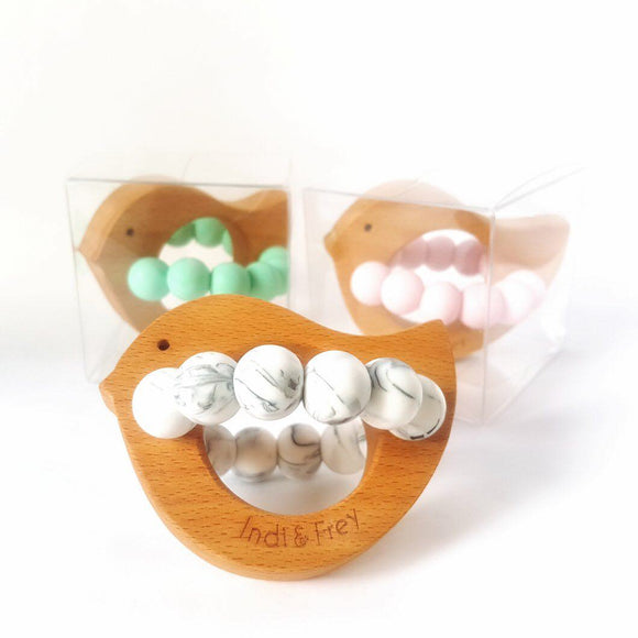 various bird teethers by indi & frey from have you met charlie a gift shop with Australian unique handmade gifts in Adelaide South Australia