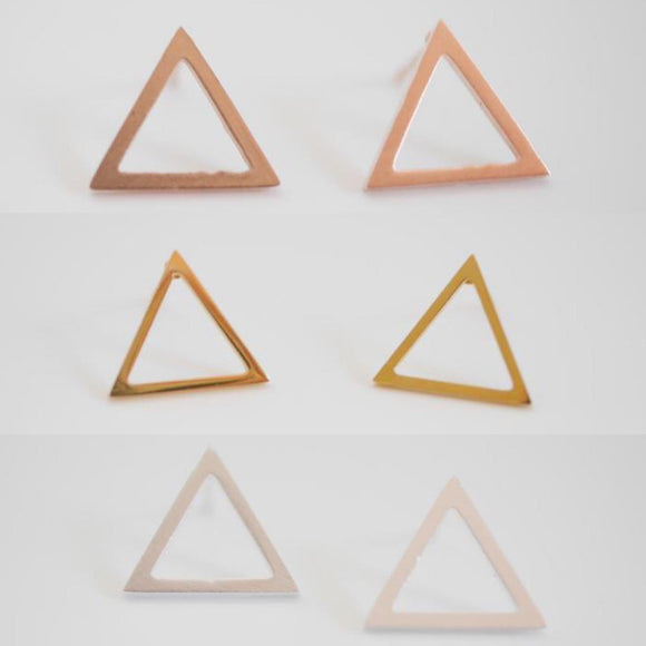 simple stainless steel hollow triangle earrings from have you met charlie a unique gift shop in adelaide south australia