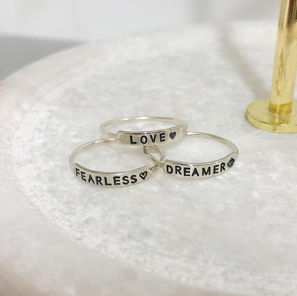 EAT Creations Rings - Love, Fearless, Dreamer