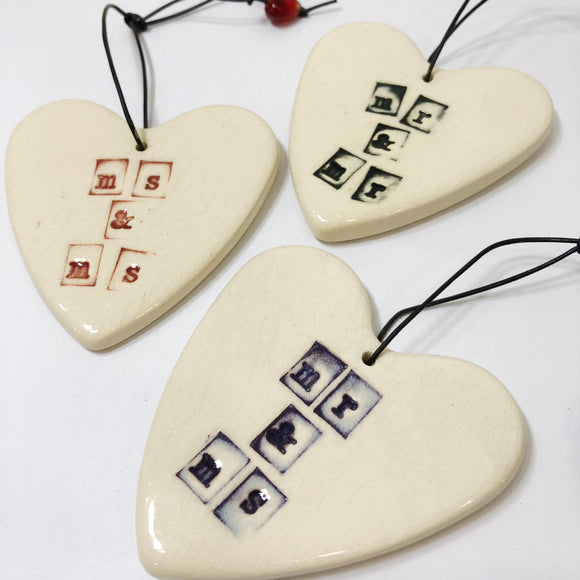 various mr & ms heart ceramic ornament by RJ crosses from have you met charlie a gift shop with Australian unique handmade gifts in Adelaide South Australia