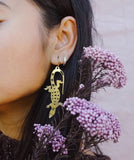 Pixie Nut & Co Brass Earrings - Goanna