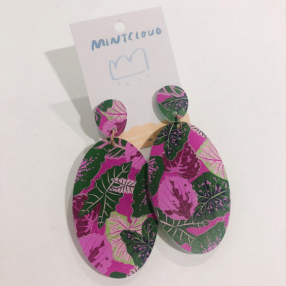 Mintcloud Earrings - Oval Pretties Leaves from have you met charlie a gift shop with Australian unique handmade gifts in Adelaide South Australia