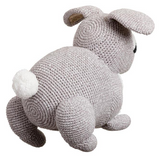 back of grey and white bunny rabbit crocheted soft toy for kids by miann and co from have you met charlie a gift shop with unique handmade australian gifts in adelaide south australia