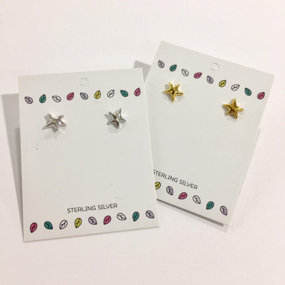 Sterling Silver Studs - 3D Star