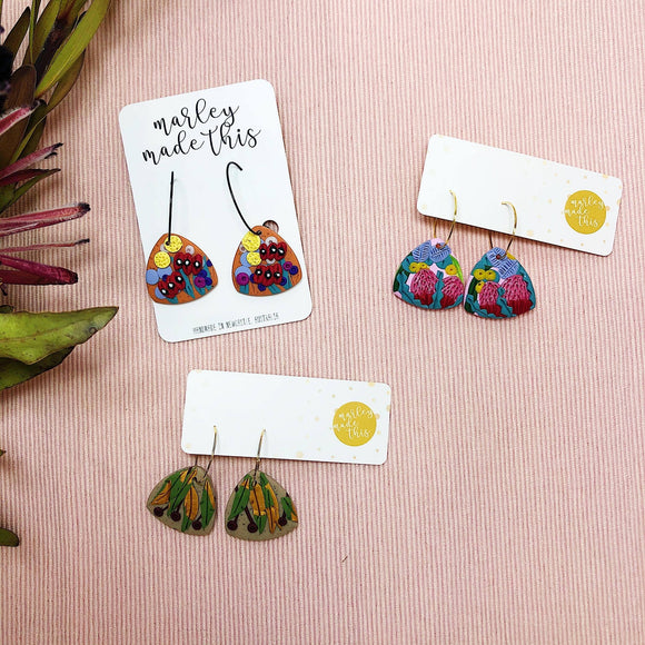 botanical hoop polymer clay earrings by marley made this from have you met charlie a gift shop with unique handmade australian gifts in adelaide south australia