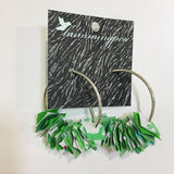 green fabric silver hoop earrings by hummingpea from have you met charlie a gift shop with Australian unique handmade gifts in Adelaide South Australia