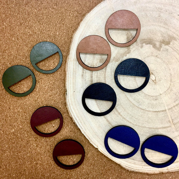 various circle cut out leather earrings by brookside the label from have you met charlie a gift shop with Australian unique handmade gifts in Adelaide South Australia