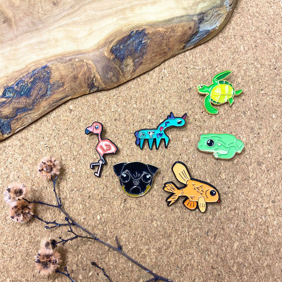 various animal enamel pins by patch press from have you met charlie a gift shop with Australian unique handmade gifts in Adelaide South Australia