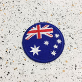 australian flag iron on patch by patch press from have you met charlie a gift shop with Australian unique handmade gifts in Adelaide South Australia