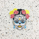 frida kahlo sugar skull iron on patch by patch press from have you met charlie a gift shop with Australian unique handmade gifts in Adelaide South Australia