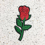 red rose iron on patch by patch press from have you met charlie a gift shop with Australian unique handmade gifts in Adelaide South Australia