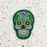 green sugar skull iron on patch by patch press from have you met charlie a gift shop with Australian unique handmade gifts in Adelaide South Australia