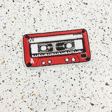 red cassette tape iron on patch by patch press from have you met charlie a gift shop with Australian unique handmade gifts in Adelaide South Australia