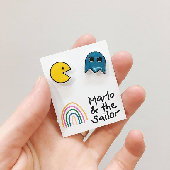 retro pac man and blue ghost stud earrings by marlo & the sailor from have you met charlie a gift shop with unique handmade australian gifts in adelaide south australia