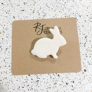 white ceramic bunny rabbit brooch by RJ crosses from have you met charlie a gift shop with Australian unique handmade gifts in Adelaide South Australia